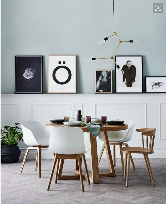 Kitchen Nook - this round wood table with the cool legs and those round, white bucket style chairs - yes, please!