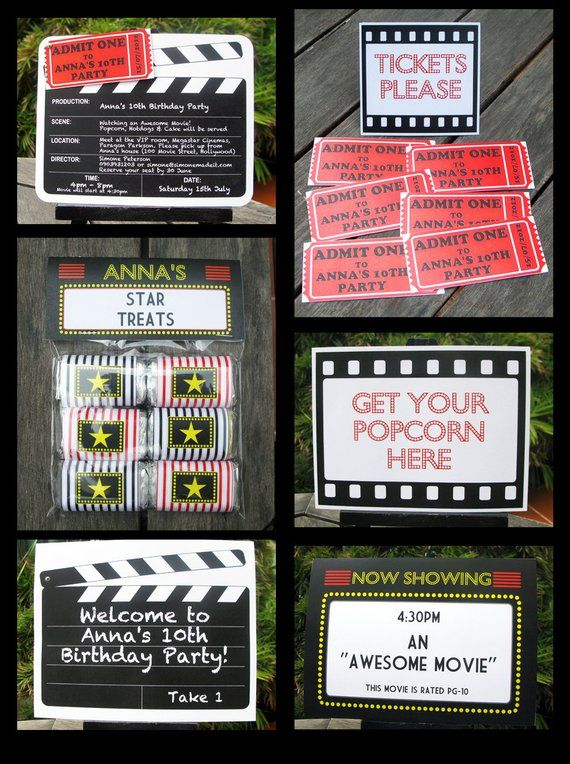 Movie Theme Party Invitations Decorations Full Printable