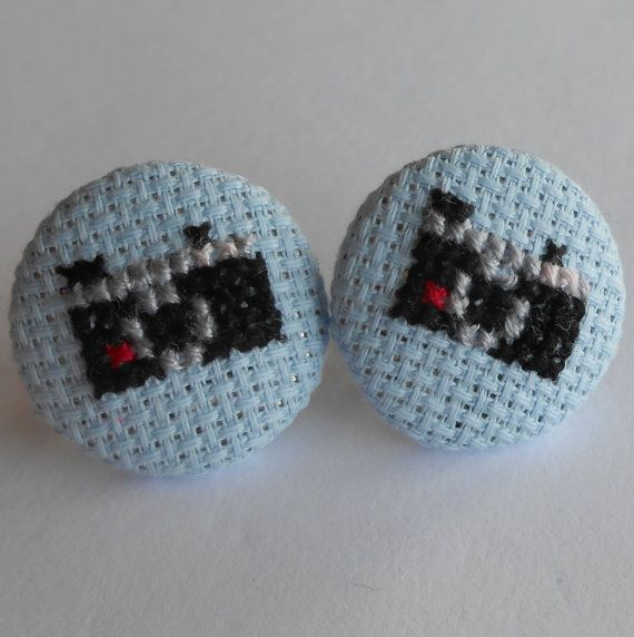 Cross stitch oversized Instamatic Camera Earrings in by MaMagasin