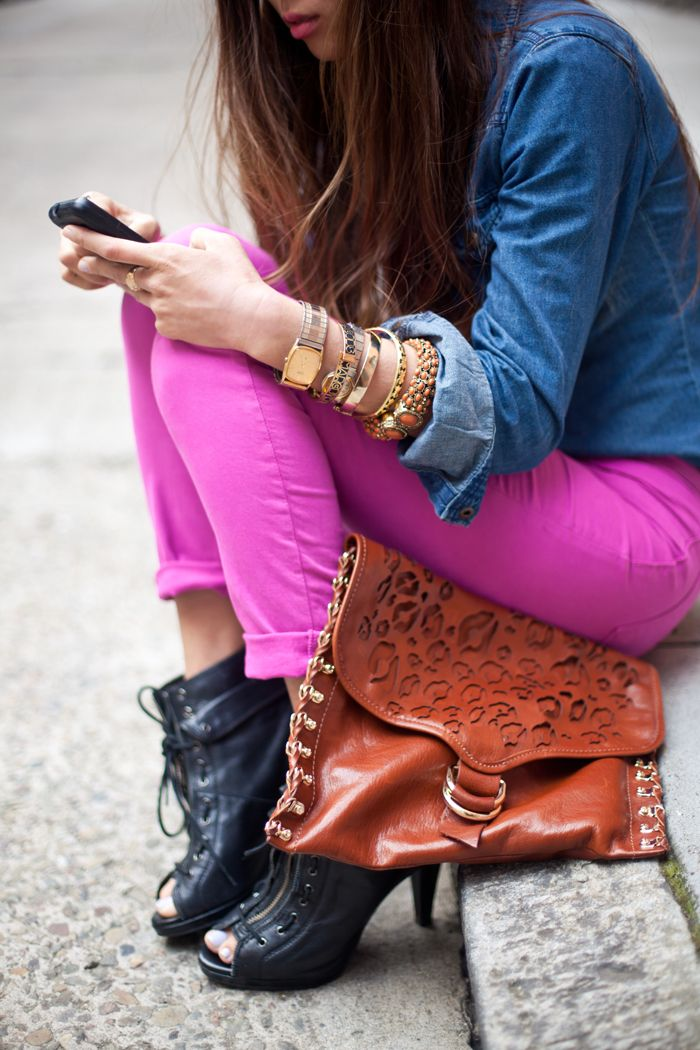bright jeans, bracelet and clutch