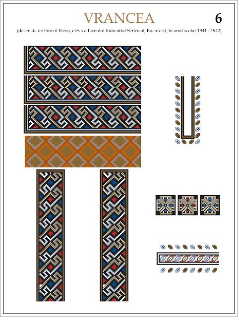 Semne Cusute: ie din VRANCEA (6) Modele de ii Romanesti din caietul elevei Furcoi Elena, de la Liceul Industrial Sericicol Bucuresti, care a desenat aceste planse in clasa a VIII-a, anul scolar 1941 - 1942