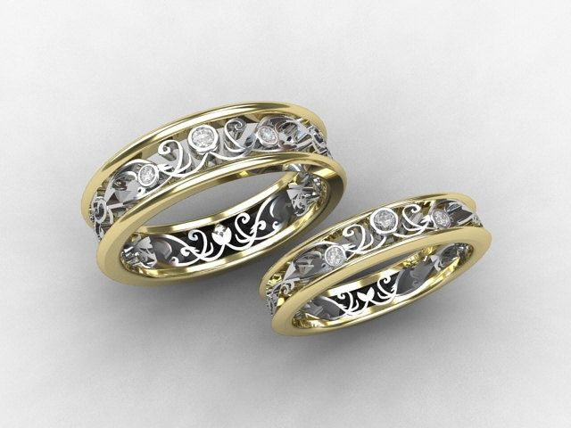steampunk wedding rings wedding band mens diamond ring filigree - Steampunk Wedding Rings
