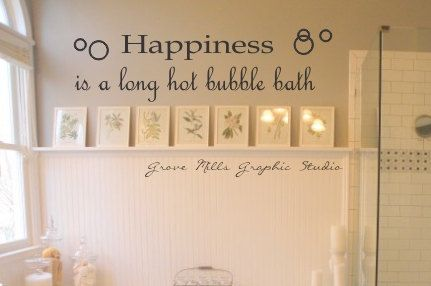 Happiness Is A Hot Bubble Bath Wall Decal - Bathroom wall decal. $24.00, via Etsy.