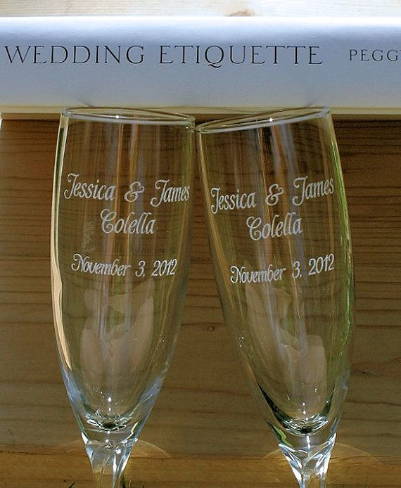 Wedding Toasting Glasses  Etched Glass Engraved