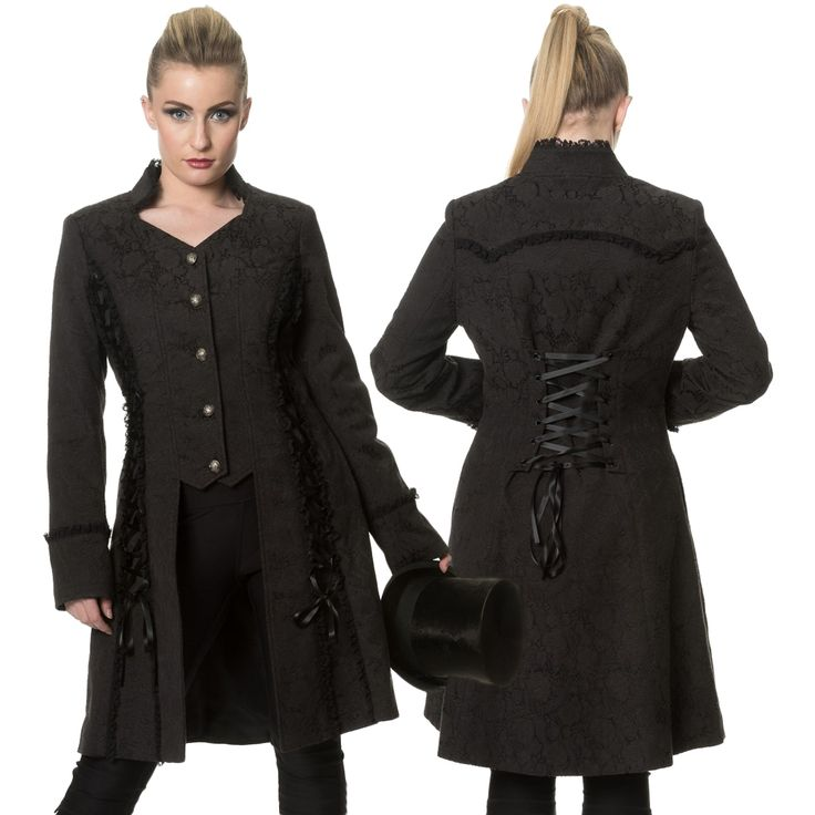Banned Gothic Jacket, Steampunk Coat, Power Becomes Her Long Line Jacket - Click to enlarge