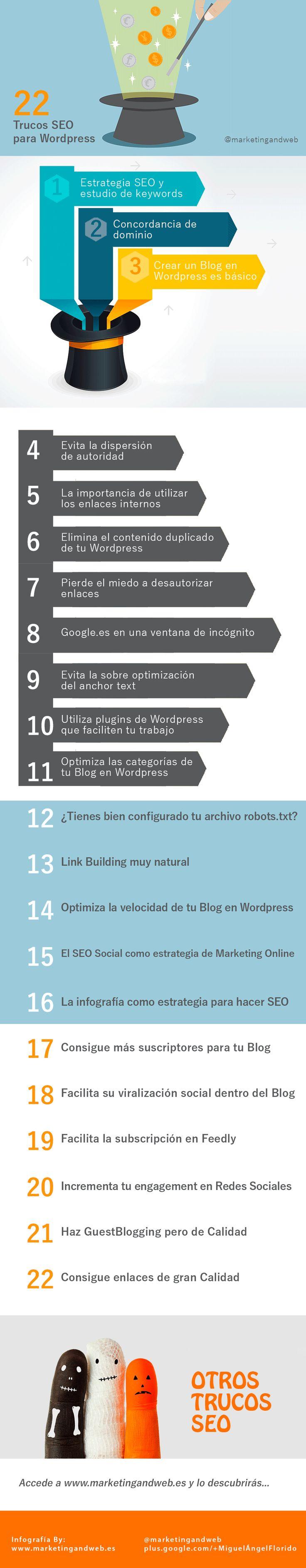 Infografía con 22 trucos seo para Wordpress en 2014  #SEO #wordpress #SocialMedia #SM #posicionamientoweb