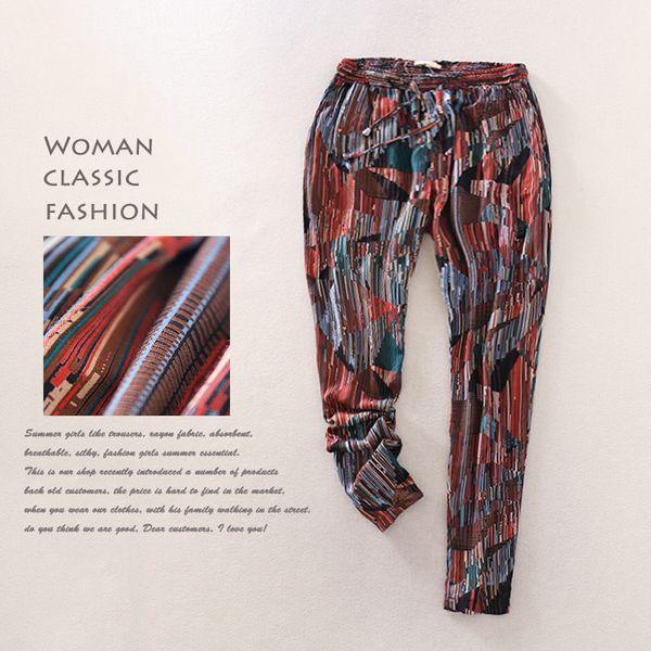 Женская весна и лето новые дамы случайные штаны талии прямые полосы Упругие шнурок брюки свободно и комфортно