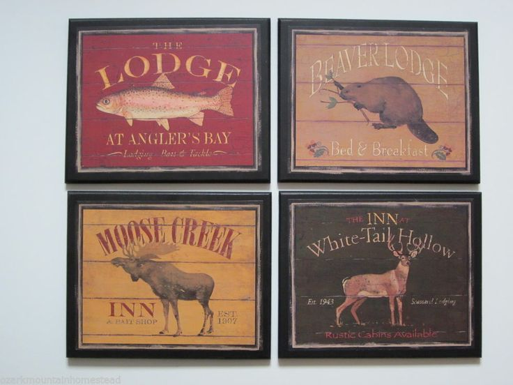 lodge style 4 plaques country rustic hunting cabin wall decor wild