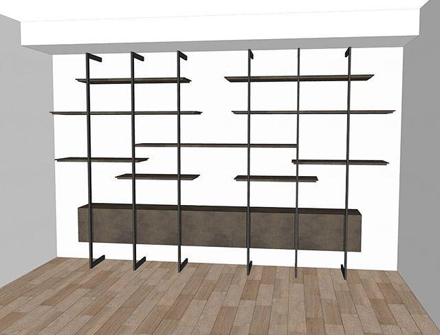 Progetto per soggiorno con parete attrezzata composta da ...
