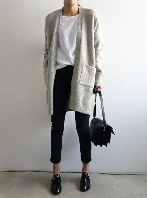 dove grey cardigan, cropped black jeans, a white tee and black shoes for the office