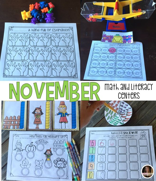 Fall, forest animals, thanksgiving and harvest themed math and literacy centers and activities that are perfect for the month of November in kindergarten and homeschool.