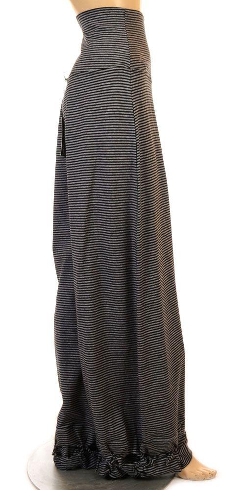 Funky Dark Stripe Knot Hem Jersey Trouser-lagenlook.