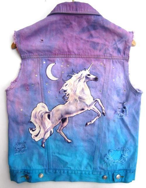 denim unicorn colour tie dye purple blue fashion style crop