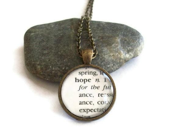 HOPE Definition Dictionary Necklace by JewelrybyJakemi on Etsy, $15.00