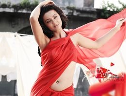 Surveen Chawla in Red Hot saree Wallpapers