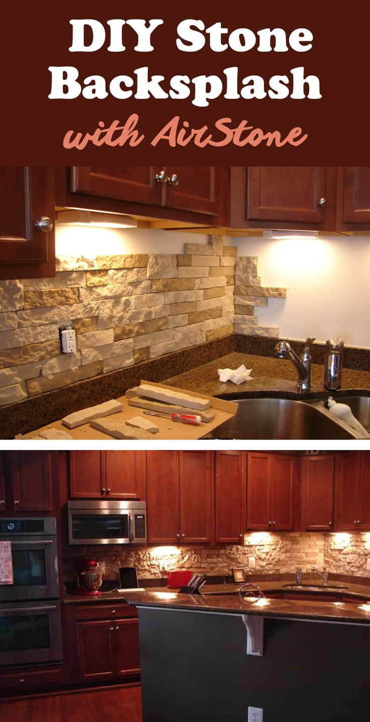 Check out this DIY stone back spalsh from Airstone! This stuff is ...