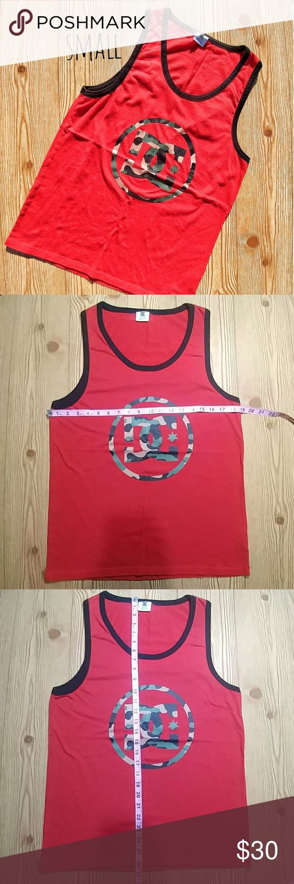 🔵DC Red Black Camo Tank Top(S) Pretty much brand new tank top. Very soft and has stretch. Polyester cotton mix. Size small. DC Shirts Tank Tops