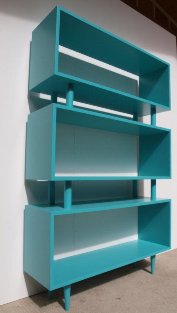 Custom Mid Century Bookcase by ELEMENTSofIRONnWOOD on Etsy