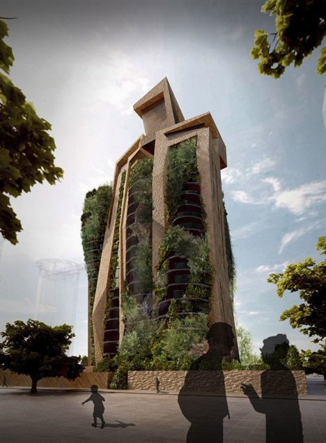 Architect Fernando Menis has developed a concept for a residential tower with plants growing out of every crevice