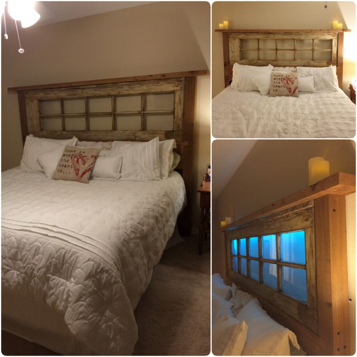 Headboard we made from an old French door we found and cedar wood. Even added some hidden remote controlled led lights.