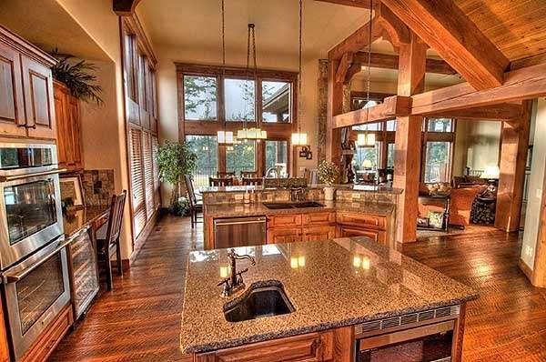 Living Room Open Floors Plans Kitchens Logs Cabin House