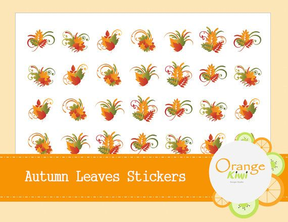 Autumn Leaves Stickers  Fall Planner Stickers by OrangeKiwiDesign