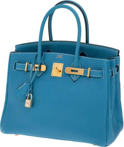 Hermes 30cm Blue Jean Togo Leather Birkin Bag with Gold Hardware