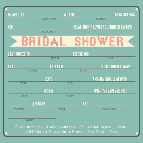 Advice bridal shower invitation bridal shower for Bridal shower fill in invitations