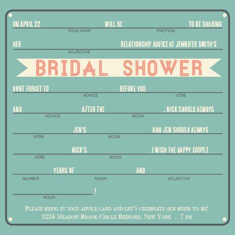 Advice bridal shower invitation bridal shower for Bridal shower fill in invitations
