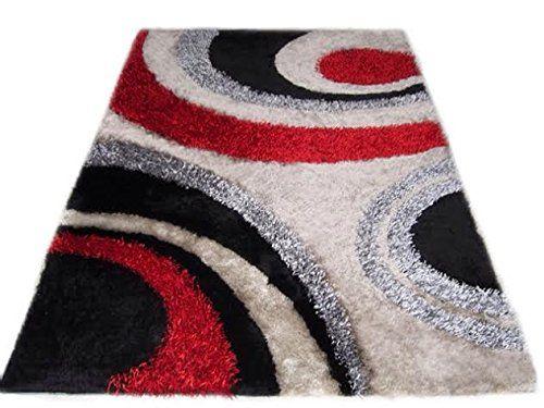 Modern Contemporary Design Red Black Light Gray Black Shag Rug ...