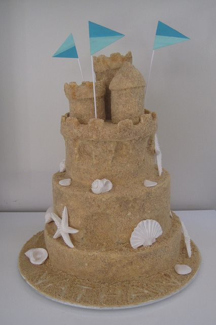 "sand castle cake - Cover frosting with graham cracker ""sand"" and decorate with white chocolate seashells!"