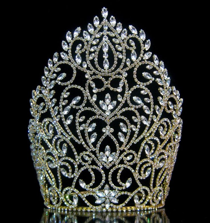 Rhinestone Miss Beauty Queen Pageant Crown Gold Tiara - CrownDesigners