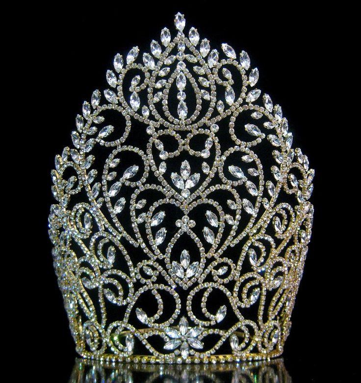 Rhinestone Miss Beauty Queen Pageant Crown Gold Tiara - CrownDesigners