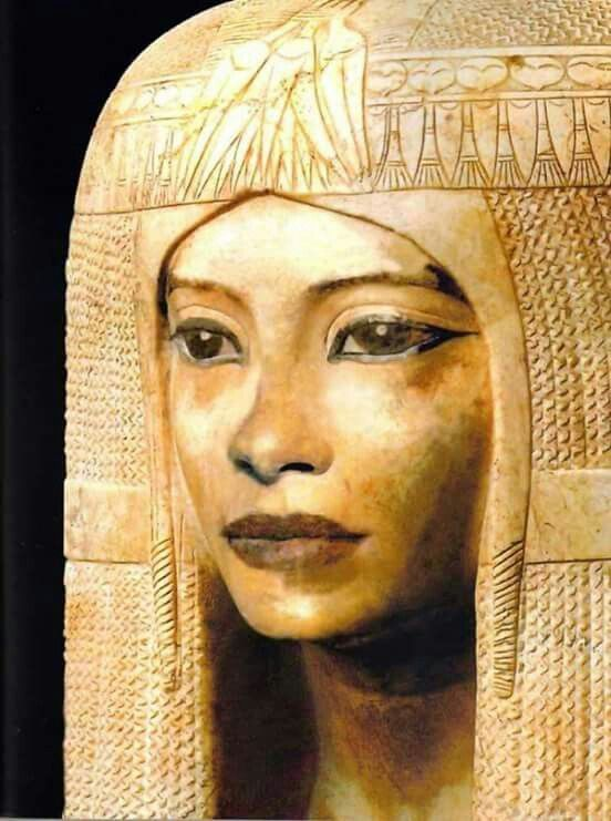 Egyptian mummy mask of a Queen from 19th dynasty Reign of Ramesses II Ca. 1200 BCE ( Wood) This carved image of her almost looks like she's coming to life.  Research has speculated that eyeliner was worn to protect the wearer . Eyeliner was first used in Ancient Egypt and Mesopotamia as a dark black line around the eyes. Egyptians wore various cosmetics not only for aesthetics but to protect the skin from the desert sun.