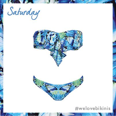 Seafolly Take Flight Cascade Bandeau Bikini Top Set in China Blue #BikiniOfTheDay #Saturday #figleaves: Bandeau Bikinis Tops, Cascading Bandeau, Bandeau Bikini Tops