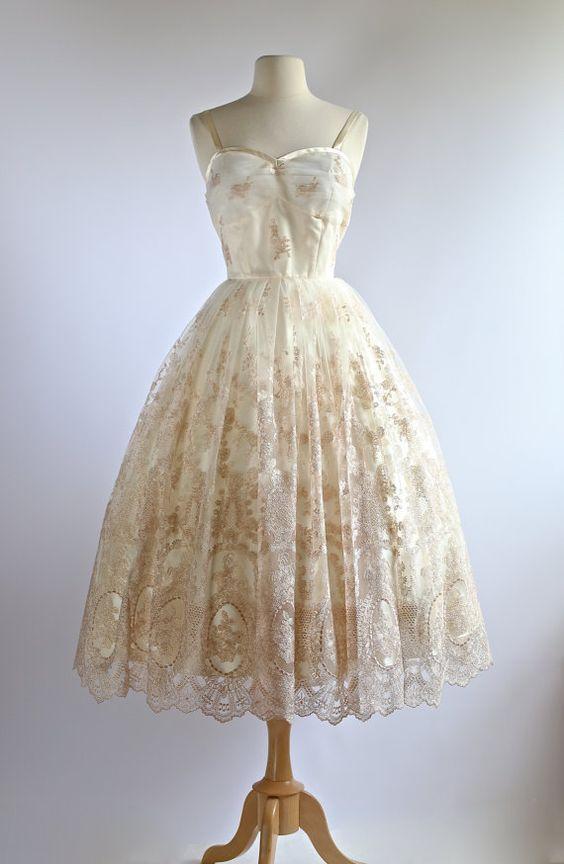 243 best vintage tea length wedding dresses images on for Portland wedding dress shops