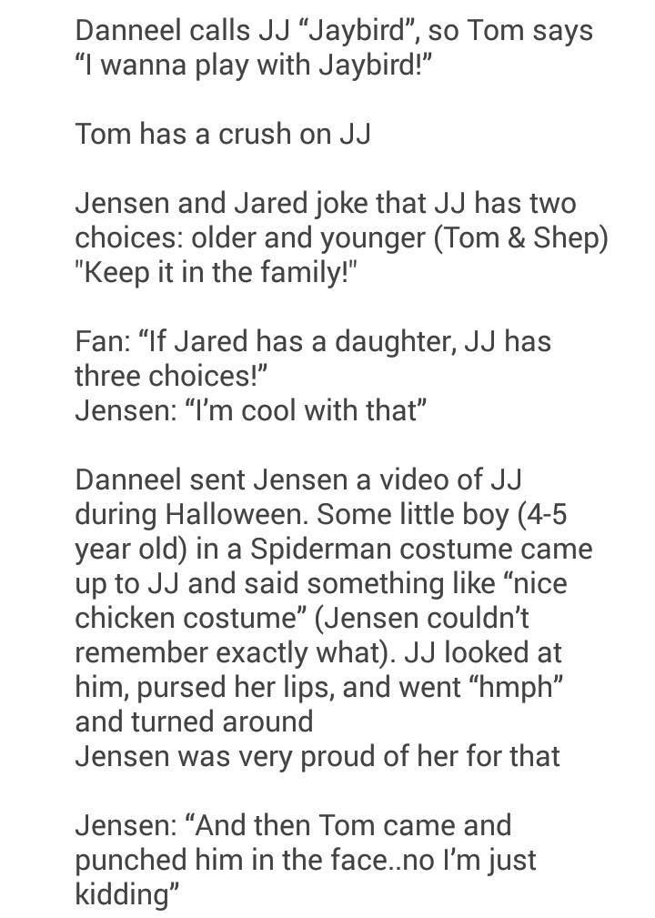 JJ Ackles and Thomas Padalecki. You know you're too far up a fandom's ass when you start to ship the actor's three year olds