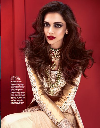 Fashion and Films - the winning combination.  Deepika Padukone in Manish Malhotra for Vogue - June 2014 issue.