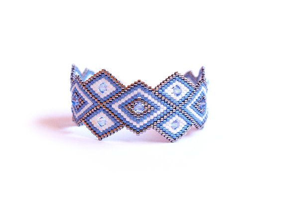 Hey, I found this really awesome Etsy listing at https://www.etsy.com/listing/179257600/unique-peyote-bracelet-rhombus-geometric