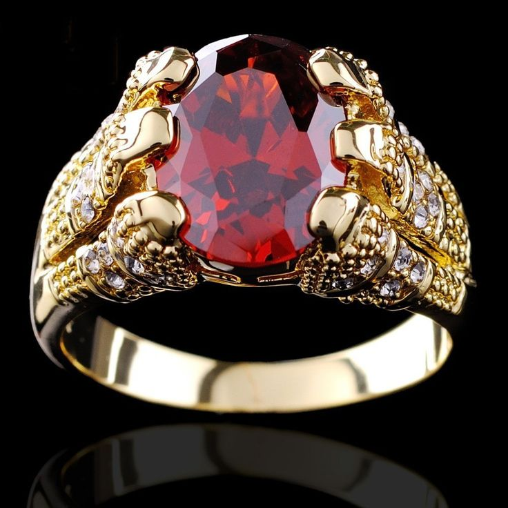 Yellow Gold Filled Ruby Ring Men S 10kt Finger Rings For