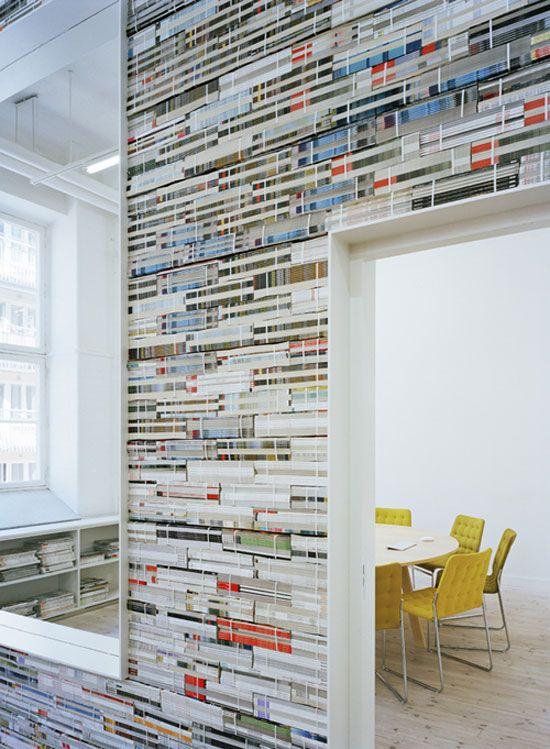 oktavilla: wall made of magazines!