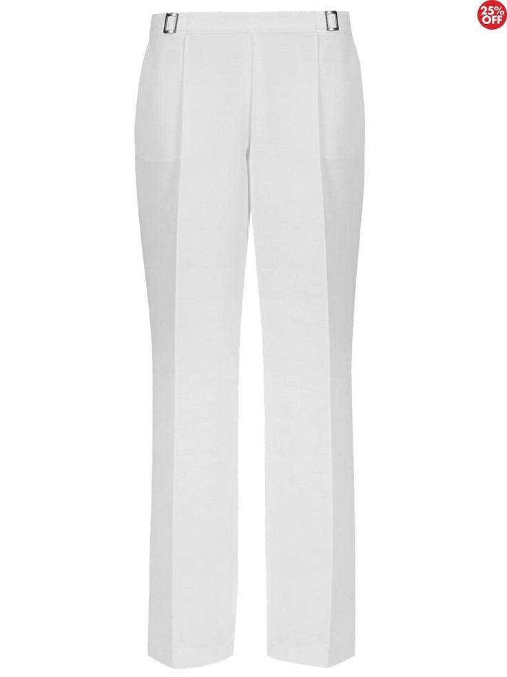 Marks+&+Spencer+Classic+White+Straight+Leg+Pull+On+Trousers++-+Marks+&+Spencer+Classic+White+Straight+Leg+Pull+On+Trousers Fabric:+polyester Colour:+white Trouser+type:+smart Leg+type:+straight+leg Pattern+:+textured Occasion:+formal,+casual Inside+leg:+varies Fastening:+no+fastening Unlined Pure+white+trousers Straight+leg Waistband+elasticated+at+back Front+buckle+trim Two+side+pockets Inside+leg+ +short+-+ 26+inches + + + +&nbsp