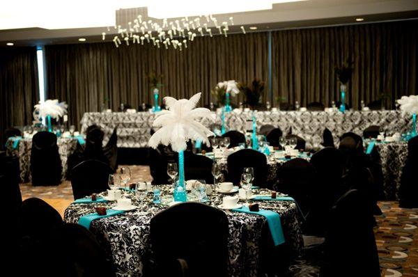 black-white-teal-damask-wedding