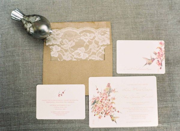 lovely floral invites. We love the lace envelope liner too! Photography by