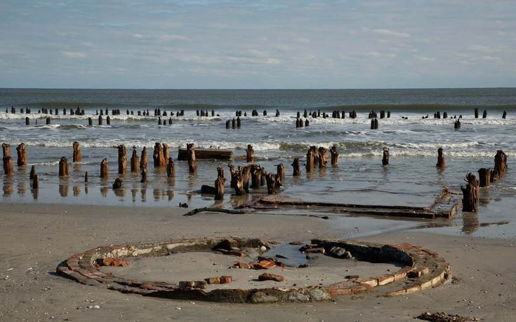 Unearthed by hurricane sandy, the foundation of an old coast guard station at the north end of Brigantine Island