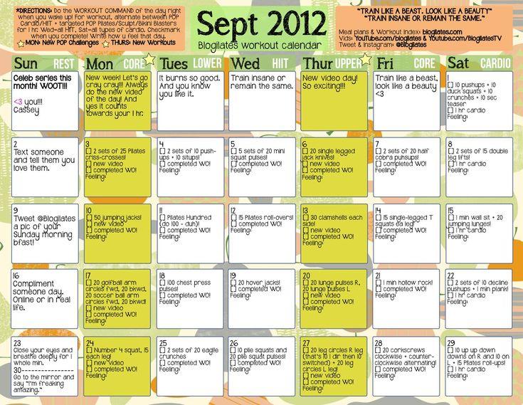 sept 2012 blogilates workout calendar