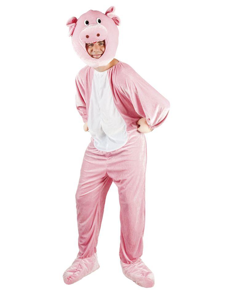 Disfraz de cerdo mascota adulto: Este disfraz de cerdo para adulto incluye traje y capucha.El traje es rosa con el centro blanco. Tiene una cola en la parte trasea.Las mano y los pies representan las patas y tienen gomas.Se cierra...