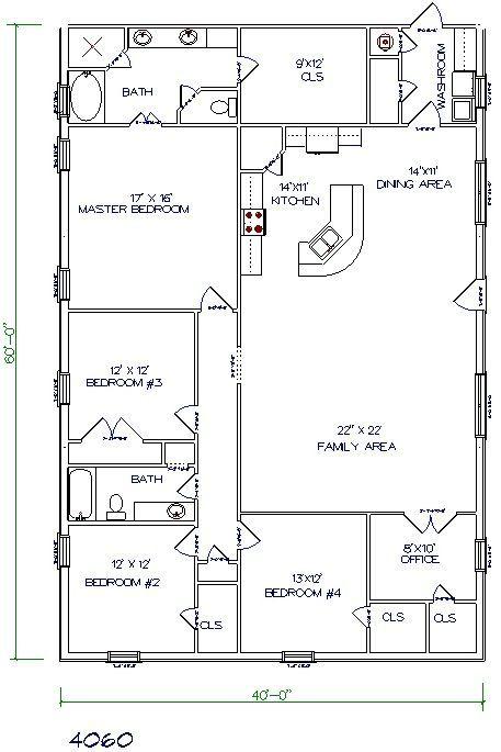 40x60 metal building with living quarter floor plans