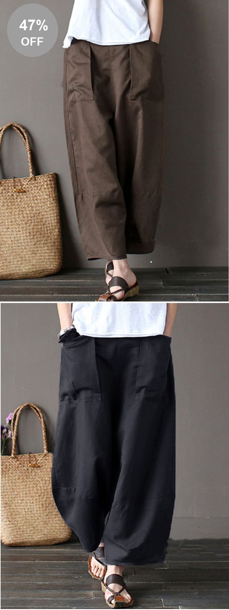 47% OFF! US$25.99 Plus Size Casual Pure Color Wide Leg Elastic Waist Pants For Women. SHOP NOW!
