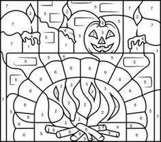 Resultado de imagen de colour by numbers halloween